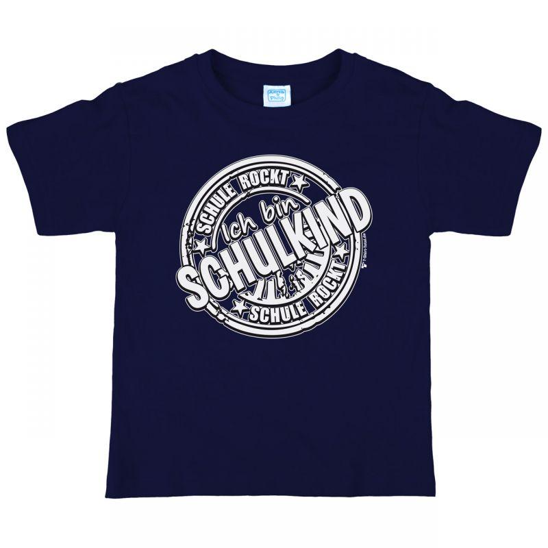 Kinder T Shirt Zum Schulanfang Mit Spruch Schule Rockt Navy Gr 122